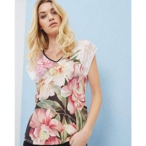 Ted Baker Ilenia Painted Posie Floral Woven Tee